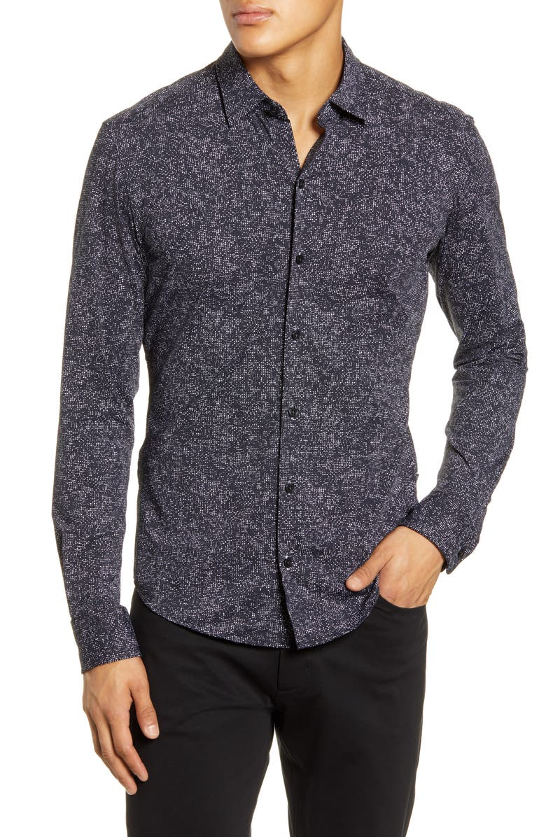 BOSS Robbie Regular Fit Abstract Print Button-Up Shirt, Main, color, BLACK