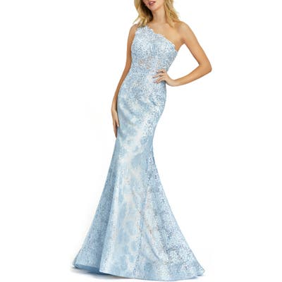 MAC Duggal One-Shoulder Lace Mermaid Gown, Blue