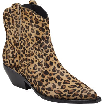 Sigerson Morrison Tacy Leopard Spot Genuine Calf Hair Western Bootie, Brown