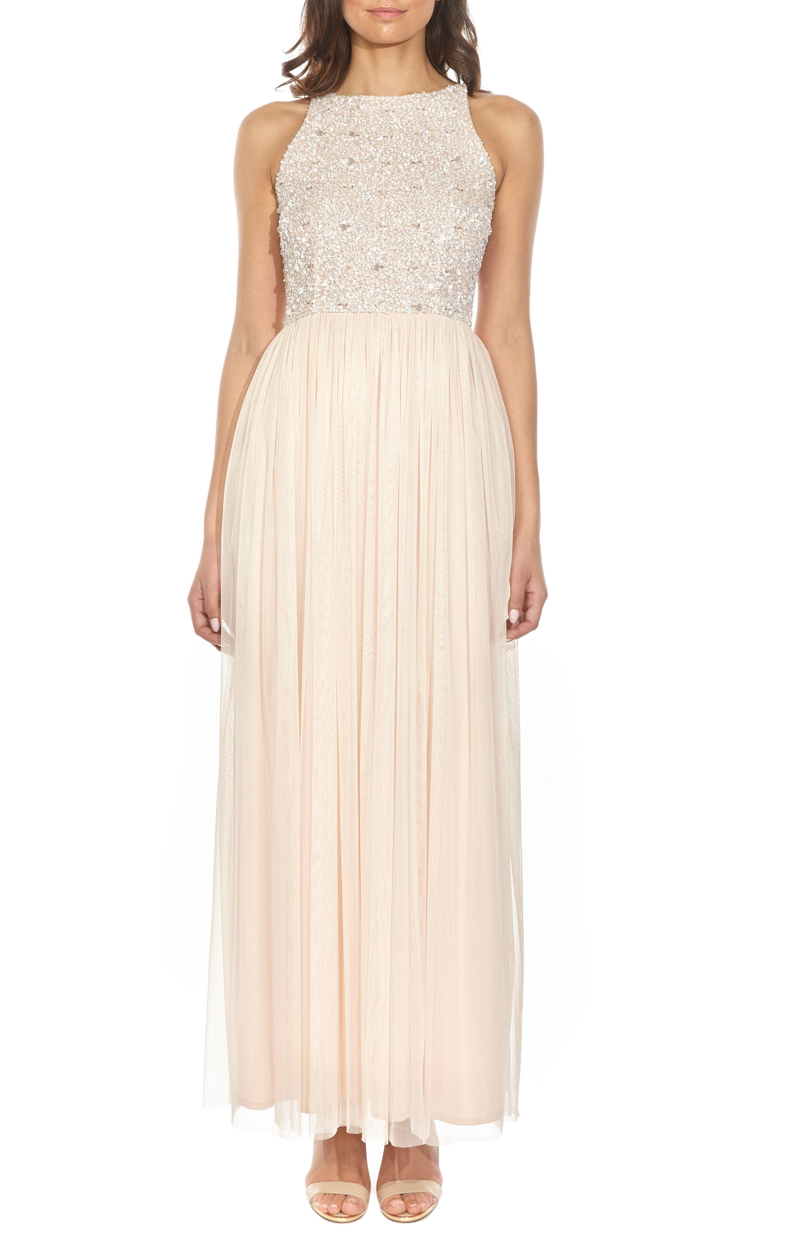 Lace & Beads Picasso Embellished Bodice Evening Dress, Beige