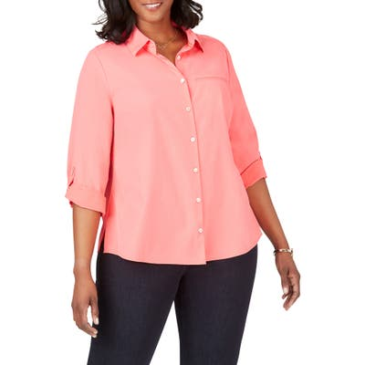 Plus Size Foxcroft Reese Solid Upf Wrinkle Free Shirt, Coral