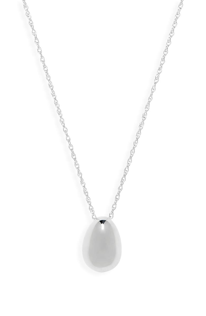 SOPHIE BUHAI Tiny Egg Pendant Necklace, Main, color, STERLING SILVER