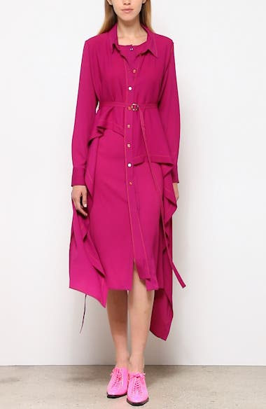 Convertible Asymmetrical Long Sleeve Midi Shirtdress, video thumbnail