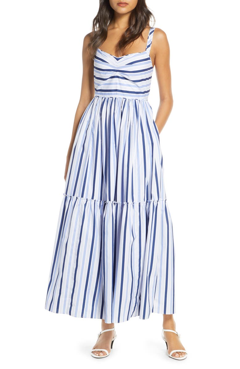 J.CREW Shirting Stripe Tiered Maxi Dress, Main, color, MULTI BLUE