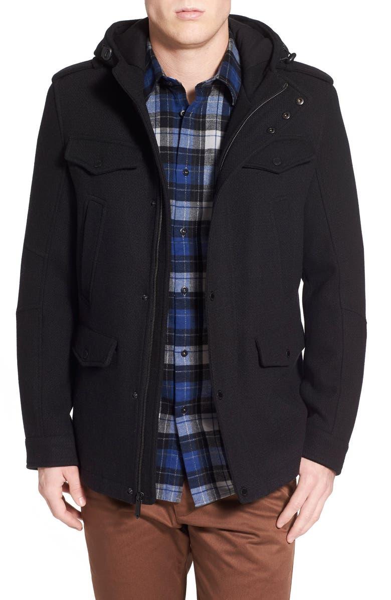 BLACK RIVET Wool Blend Hooded Military Jacket, Main, color, 001