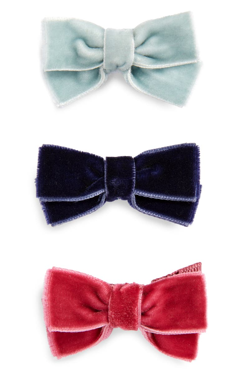 MINI BODEN 3-Pack Velvet Bow Hair Clips, Main, color, 960
