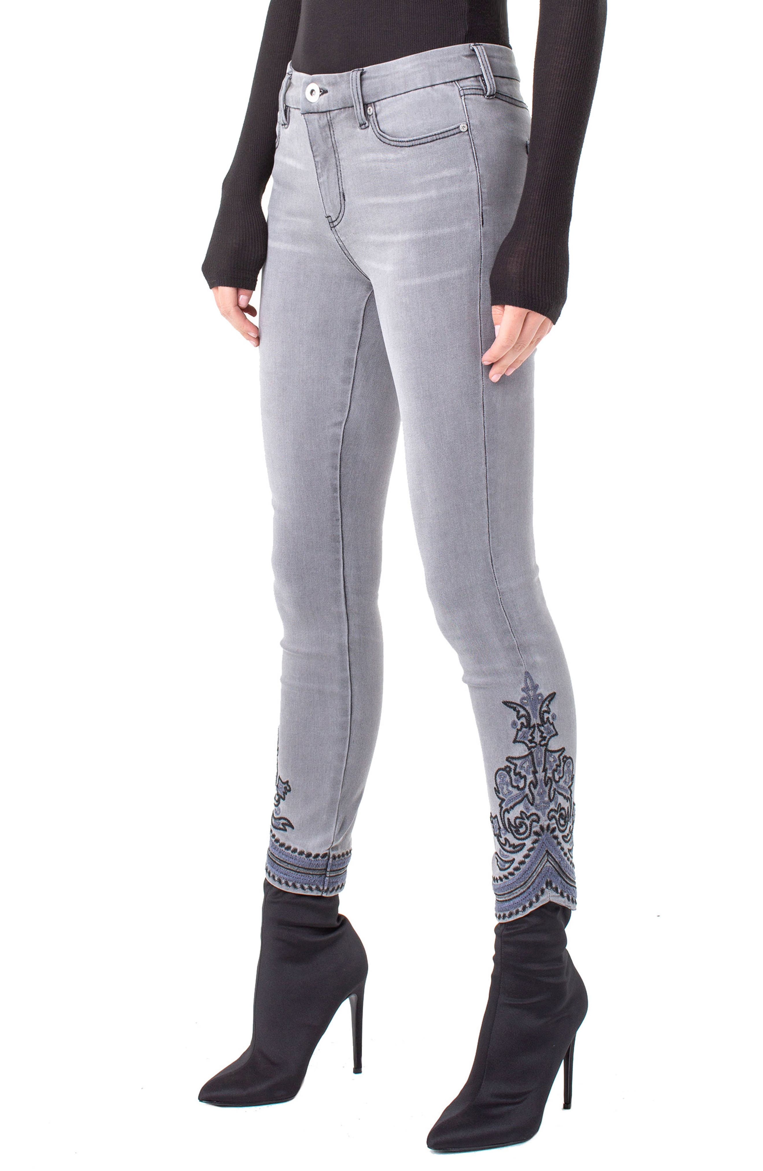 LVPL by Liverpool Kayden Embroidered Hem Ankle Jeans, Main, color, 023