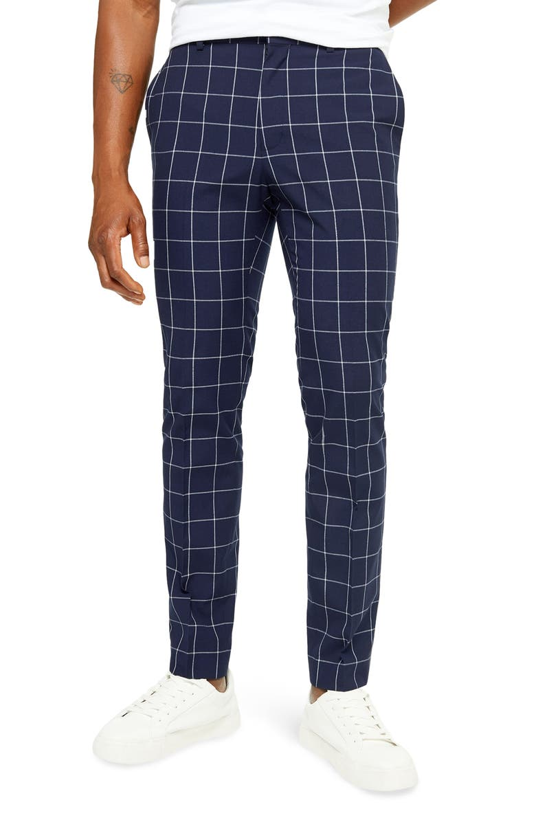 TOPMAN Wind Skinny Fit Trousers, Main, color, NAVY BLUE