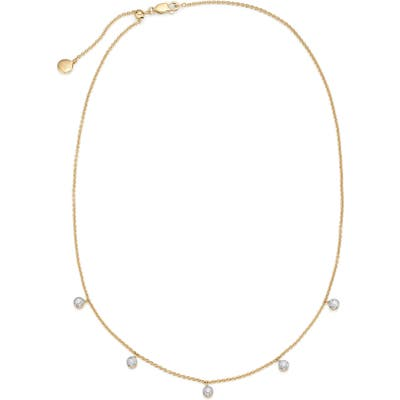 Monica Vinader Fiji Tiny Button Diamond Slider Necklace