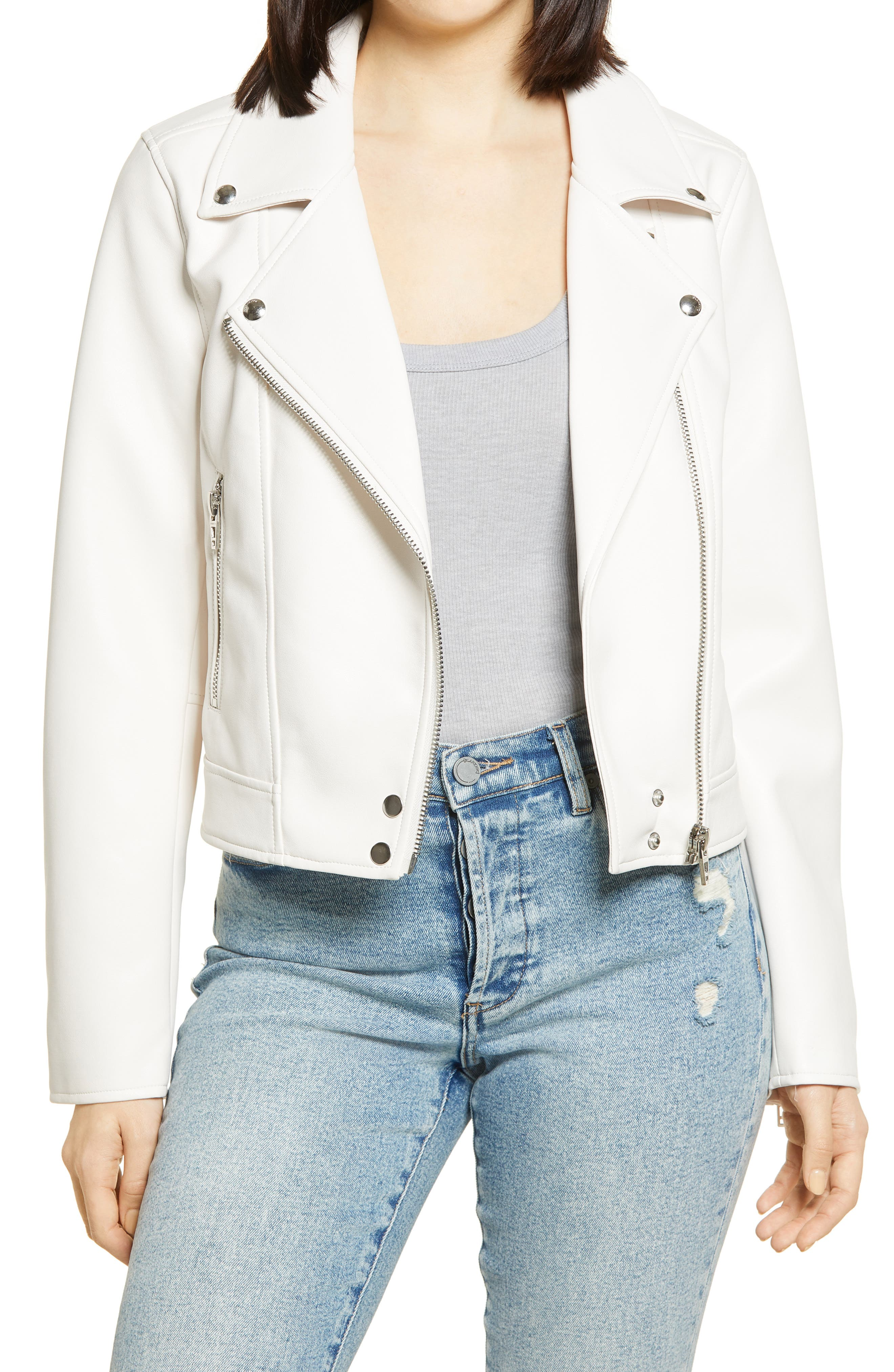Women's Blanknyc Good Vibes Faux Leather Moto Jacket, Size Small - White