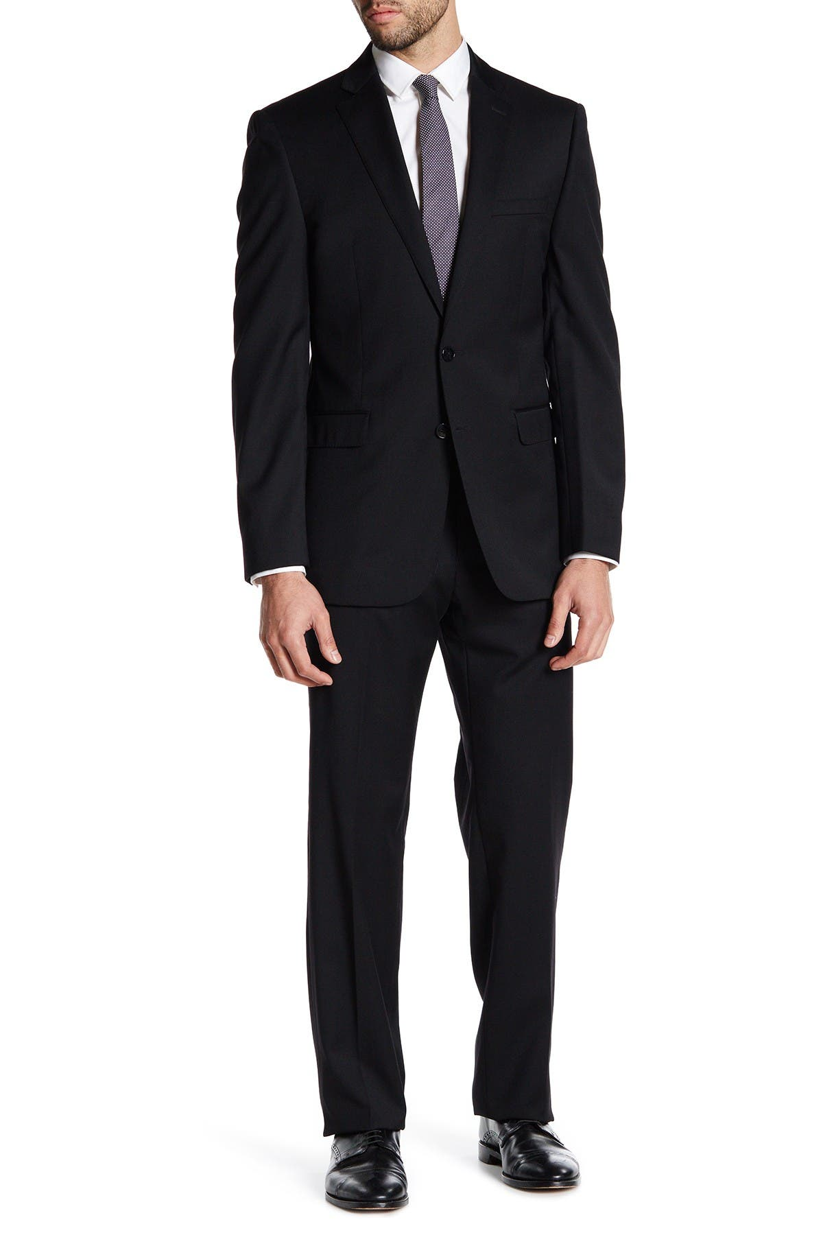 Image of Calvin Klein Black Sharkskin Two Button Notch Lapel Wool Suit