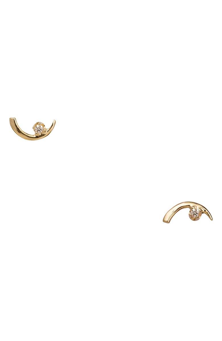WWAKE Arc Lineage Diamond Earrings, Main, color, YELLOW GOLD/ DIAMOND