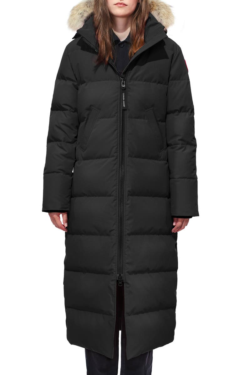CANADA GOOSE Mystique Down Parka with Genuine Coyote Fur Trim, Main, color, BLACK