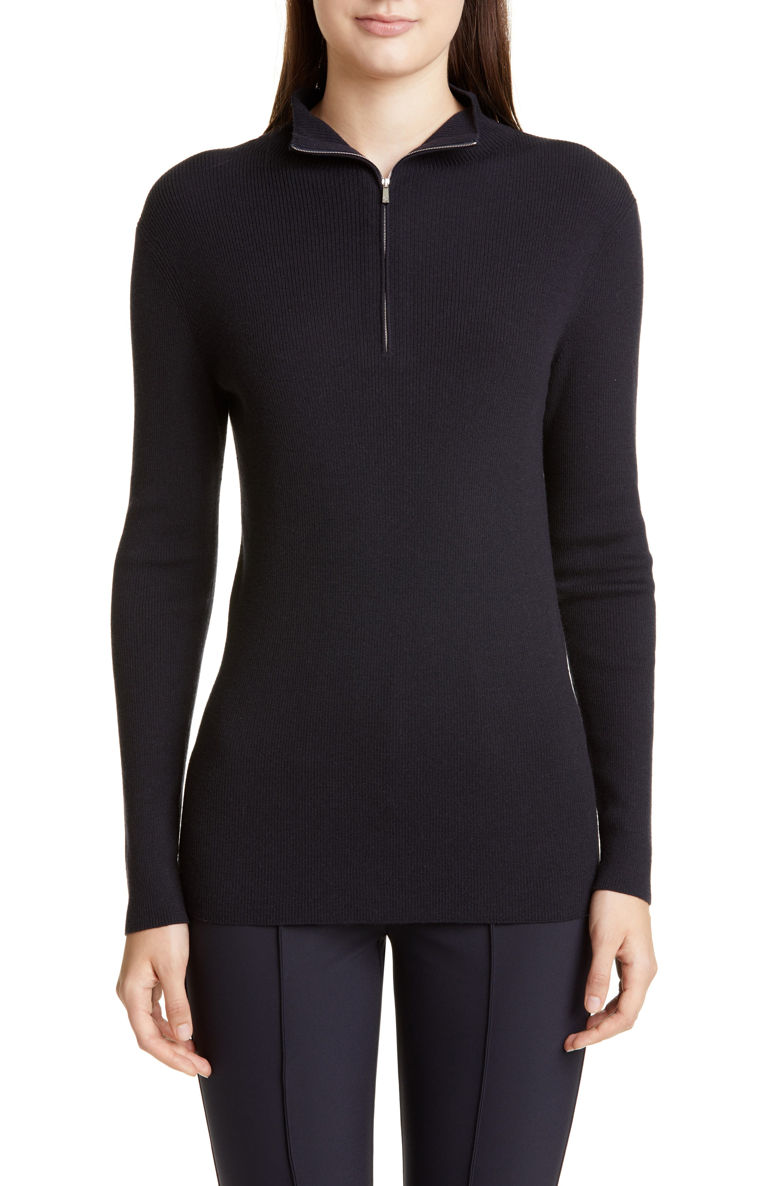 Lafayette 148 New York Fitted Funnel Neck Rib Sweater