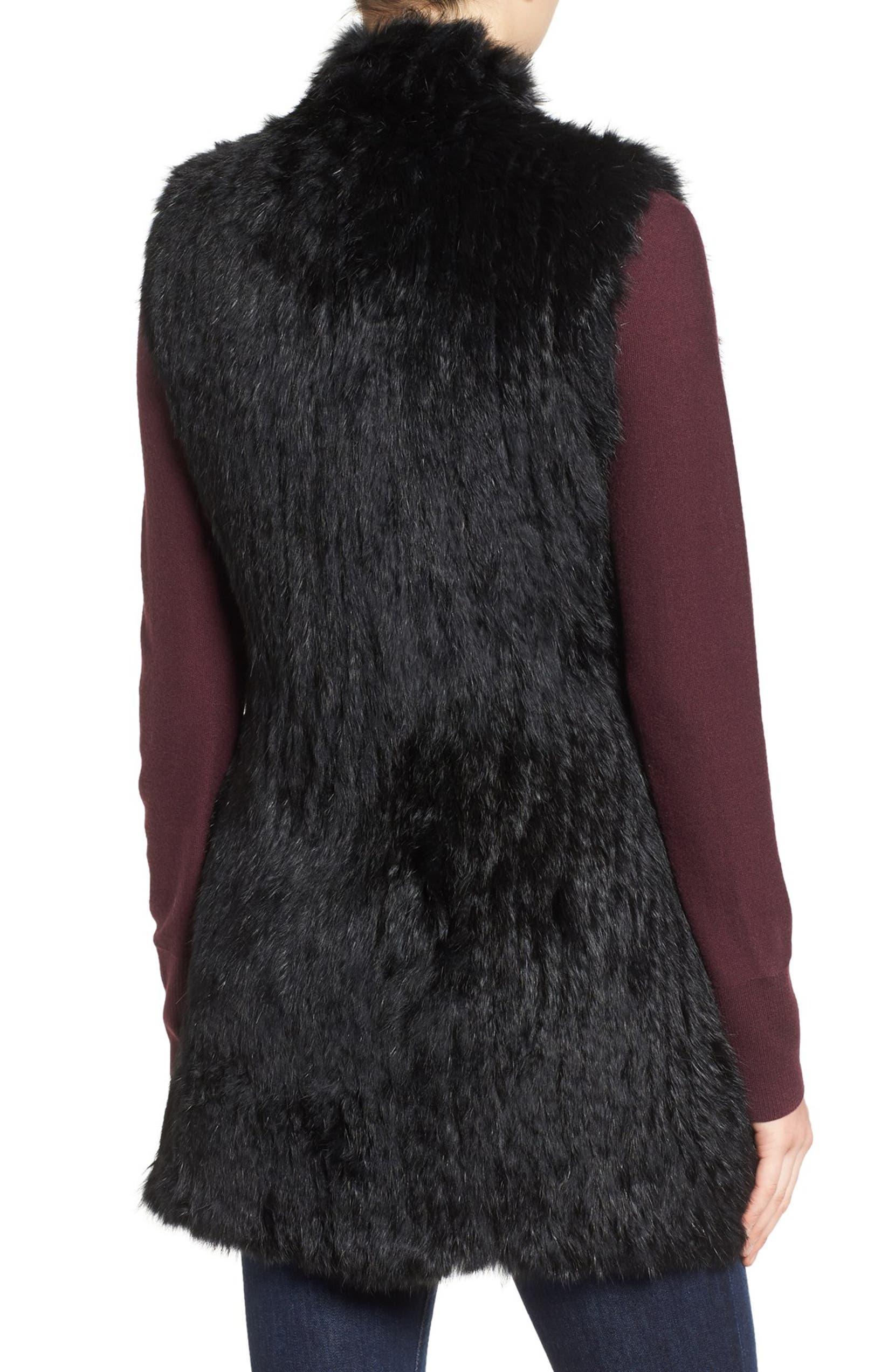 4c461244f Love Token Long Genuine Rabbit Fur Vest | Nordstrom
