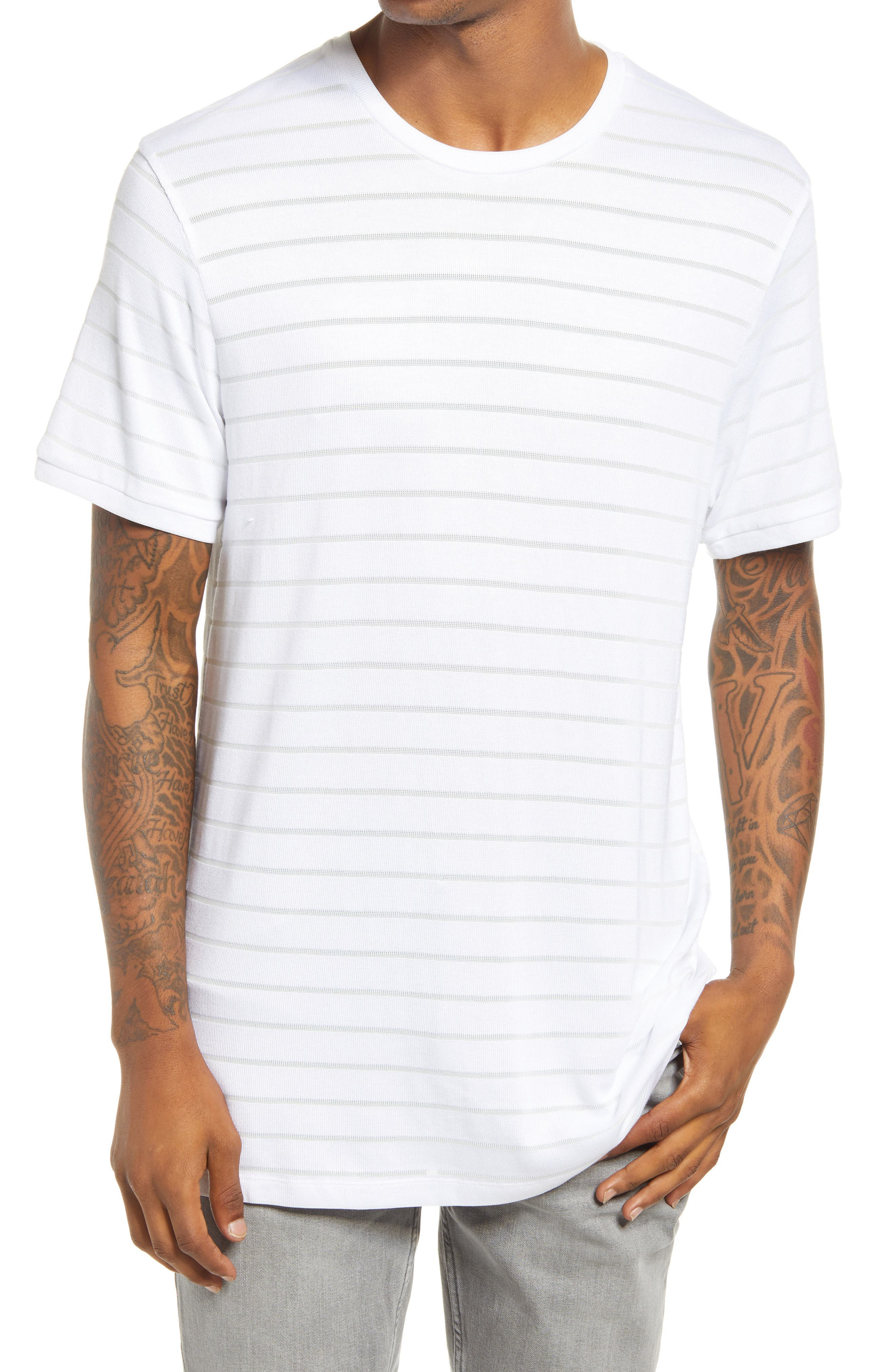 Eye-catching stripes enliven this slouchy drop-shoulder T-shirt that\\\'s ready for the weekend. Style Name: Topman Stripe T-Shirt. Style Number: 6096087. Available in stores.