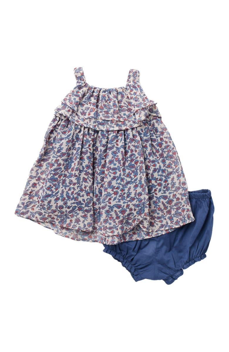 LAURA ASHLEY Boho Ruffle Dress & Bloomers Set, Main, color, NAVY