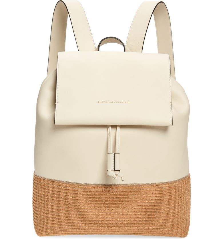 BRUNELLO CUCINELLI Monili Leather & Raffia Backpack, Main, color, WHITE
