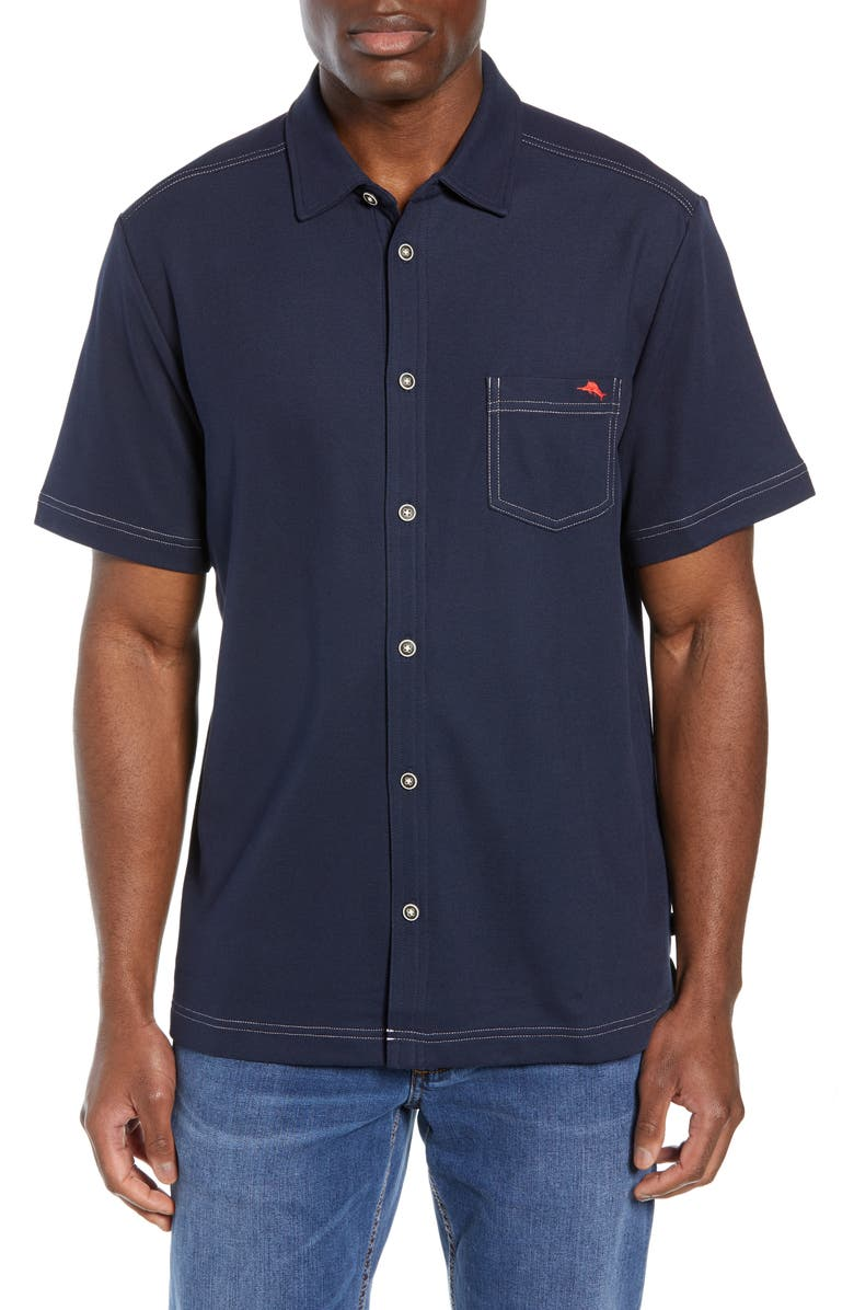 TOMMY BAHAMA Emfielder 2.0 Camp Shirt, Main, color, BLUE NOTE