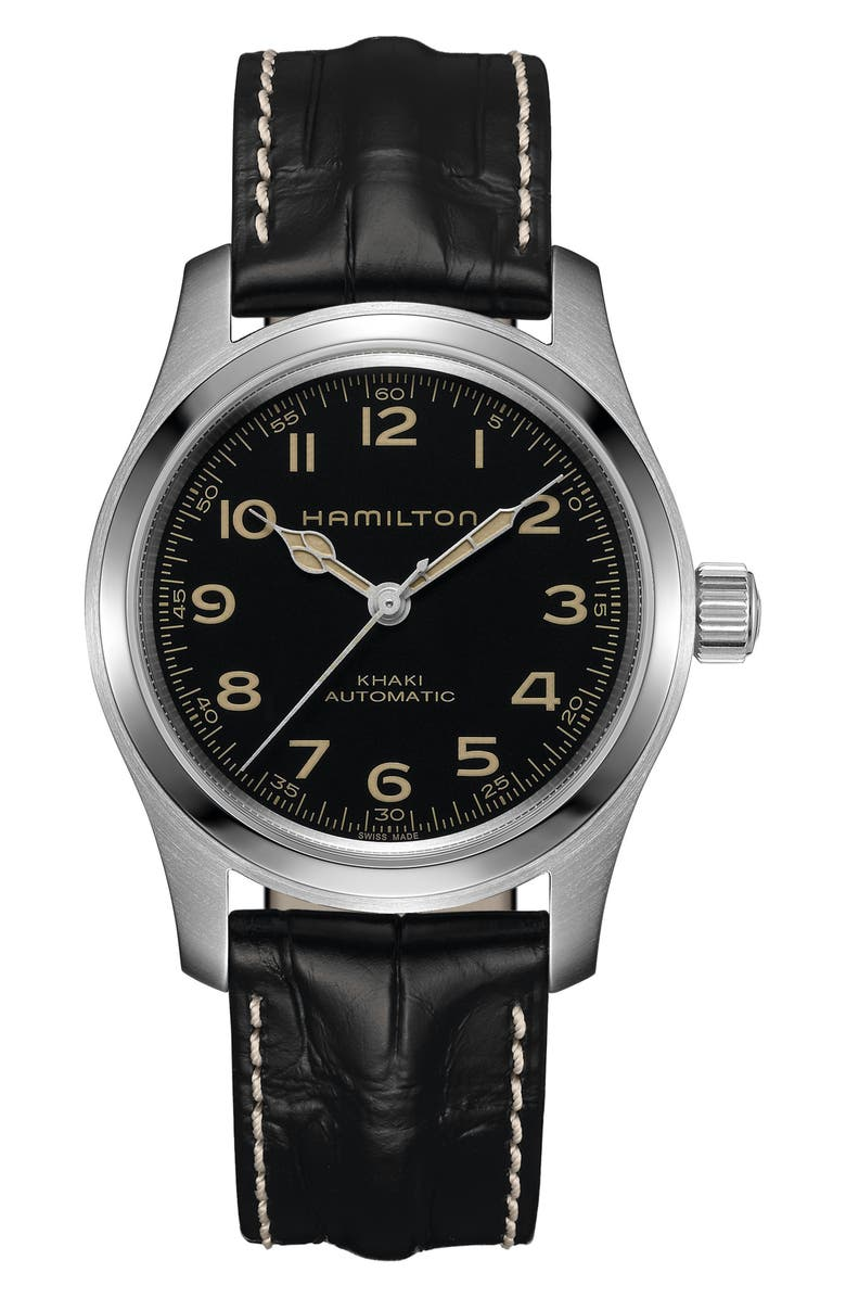 HAMILTON Khaki Field Automatic Leather Strap Watch, 42mm, Main, color, 001
