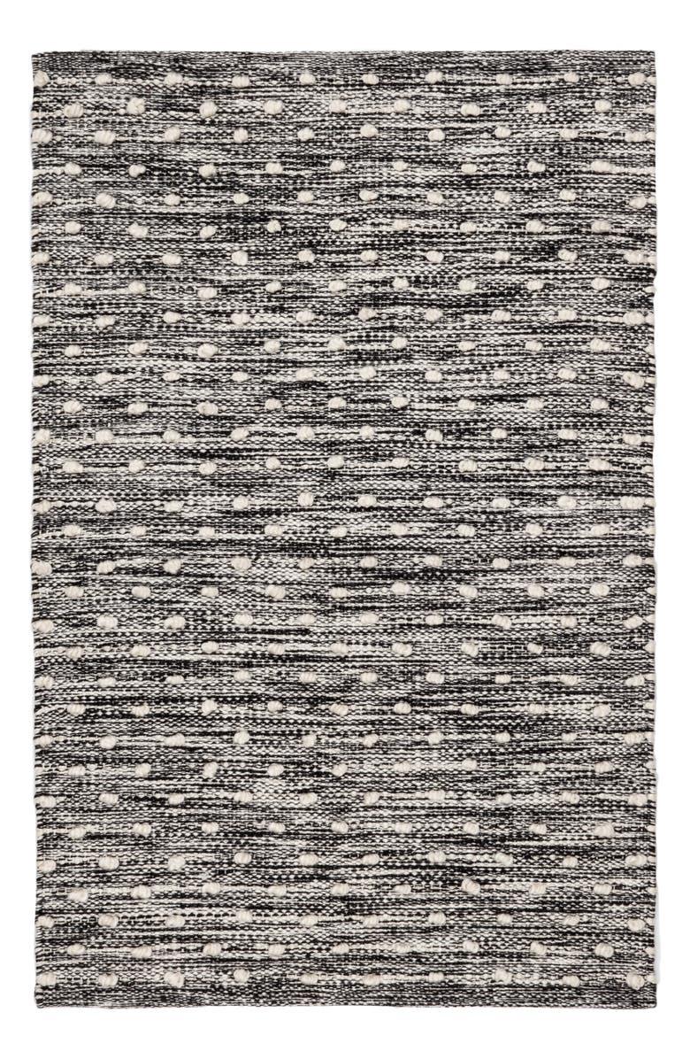 DASH & ALBERT Hobnail Handwoven Indoor/Outdoor Rug, Main, color, BLACK