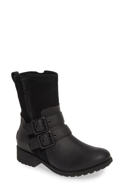 Ugg Women's Wilde Suede & Leather Combat Boots In Black Leather