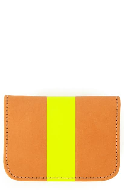 Clare V Bifold Leather Card Case In Russet W/neon Pink Stripe
