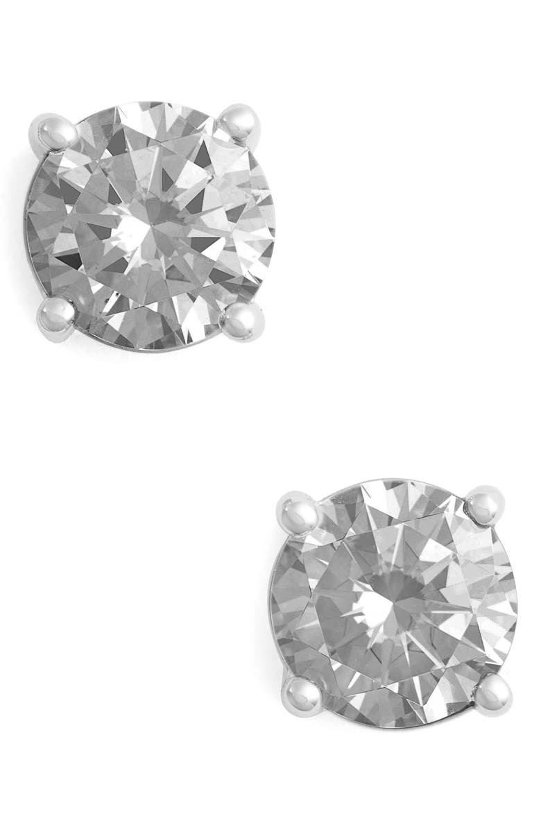 LAFONN Simulated Diamond Stud Earrings, Main, color, SILVER/ CLEAR