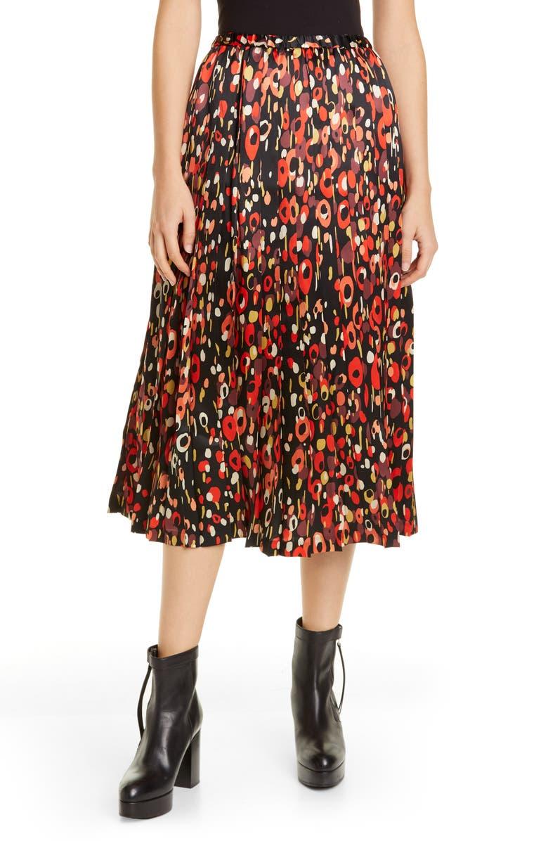 JUNYA WATANABE Pleated Polka Dot Silk Midi Skirt, Main, color, BLACK/ WHITE/ BROWN