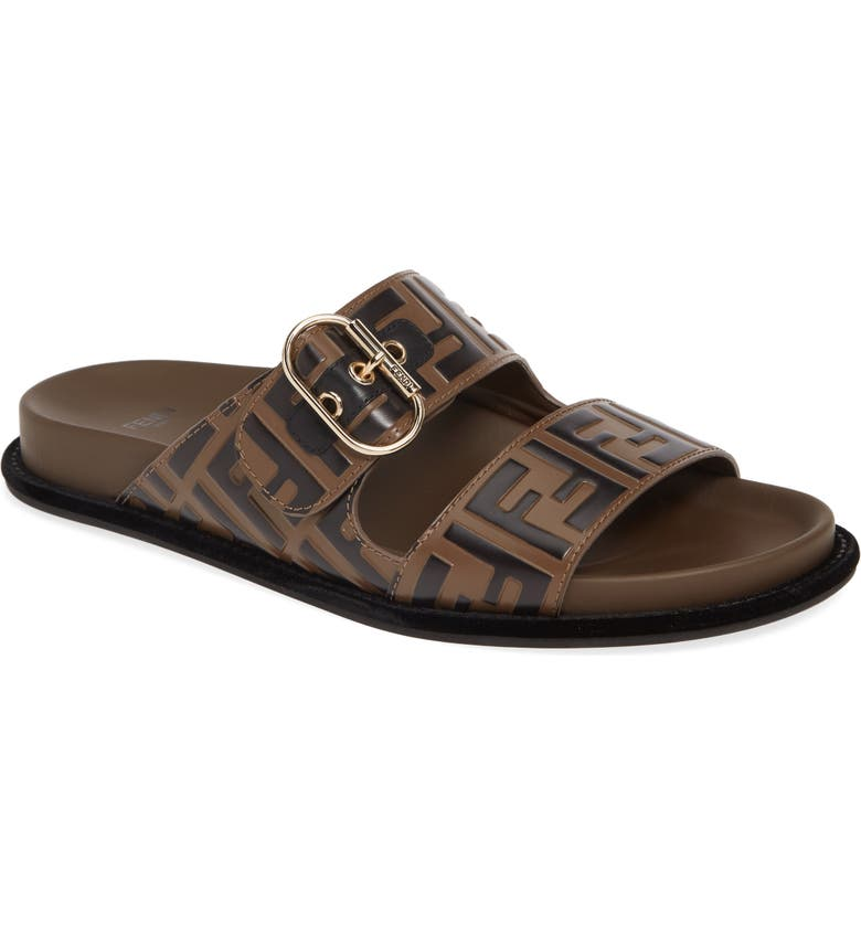 FENDI FF Buckle Slide Sandal, Main, color, BROWN