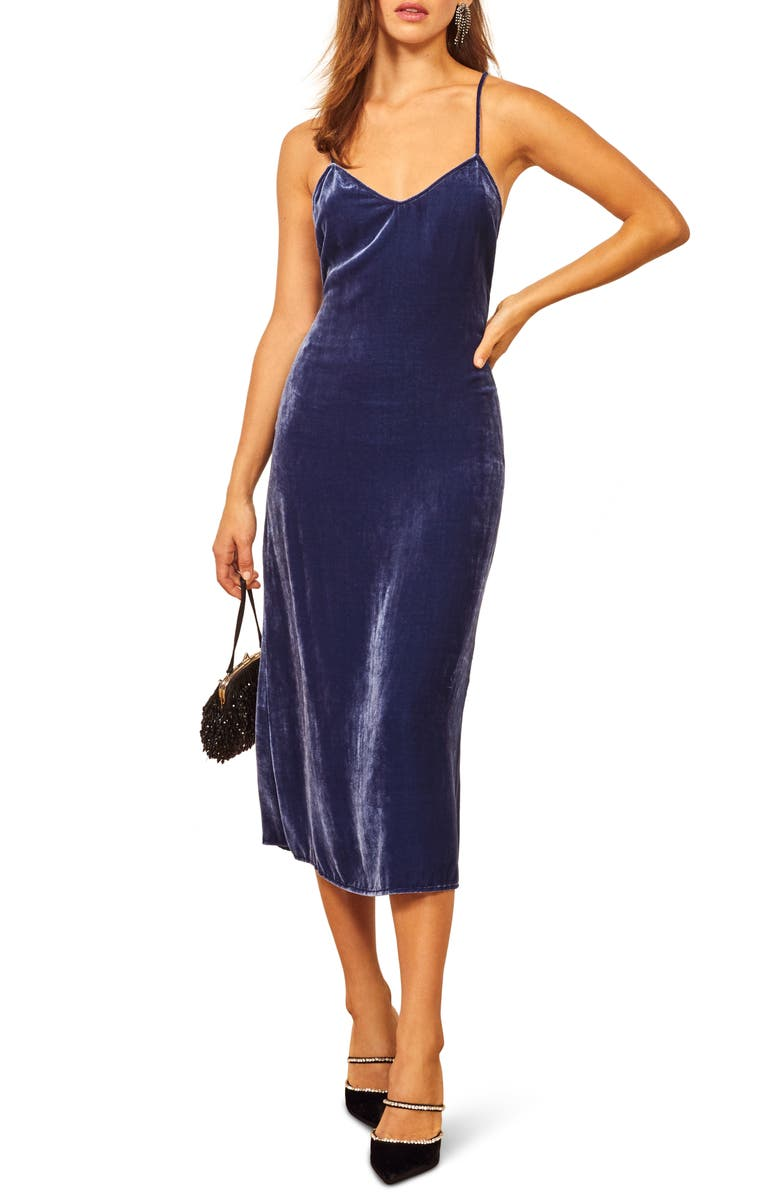 REFORMATION Moore Velvet Midi Slipdress, Main, color, DANUBE