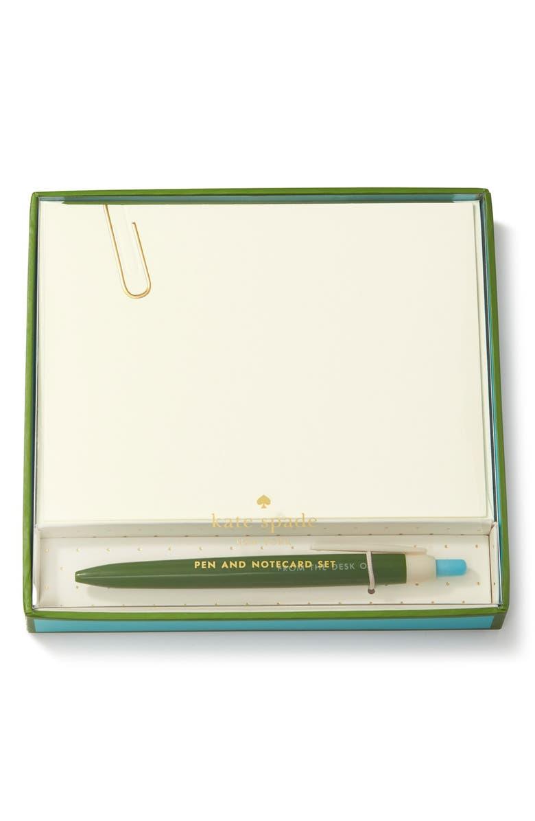 KATE SPADE NEW YORK pen & note card set, Main, color, 300