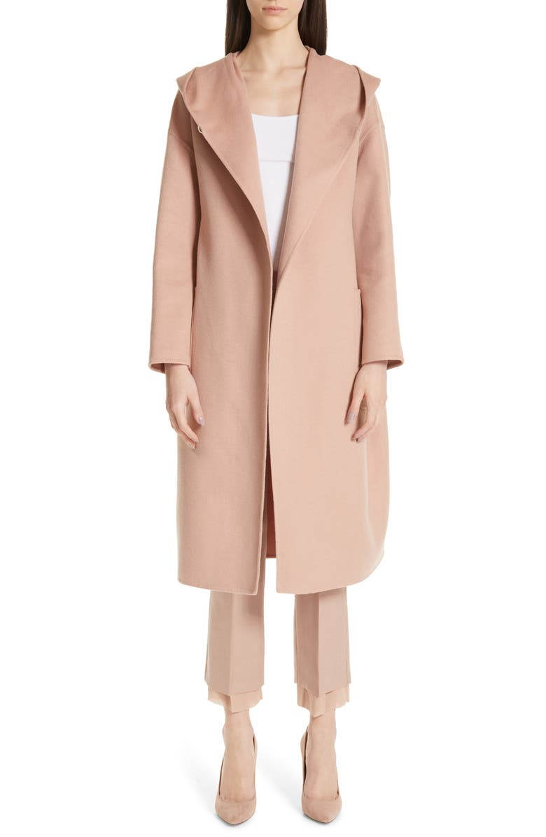 MAX MARA Pucci Hooded Double Face Camel Hair Coat, Main, color, POWDER