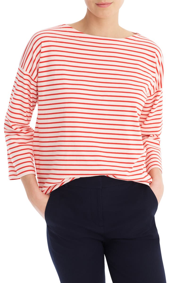 J.CREW Striped Tee, Main, color, SKINNY STRIPE SUBTLE PINK RED
