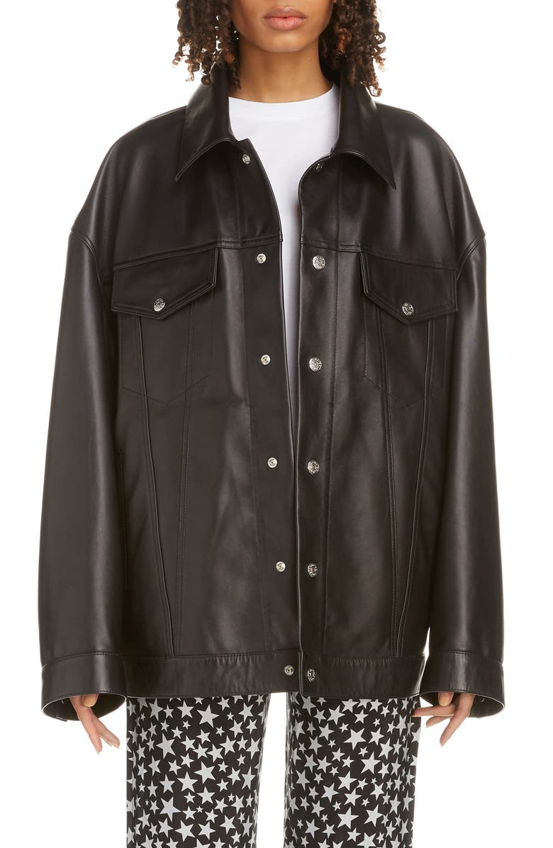 ACNE STUDIOS Morris Oversize Leather Jacket, Main, color, BLACK