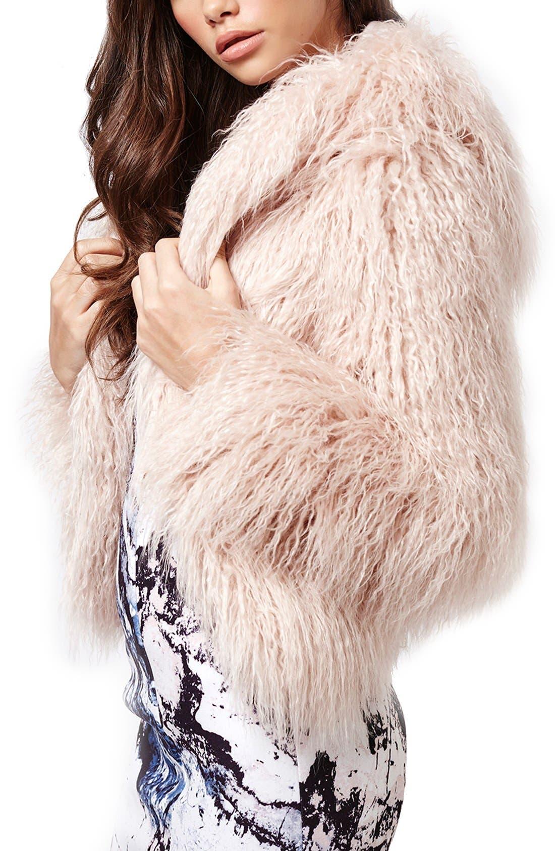 KENDALL + KYLIE at Topshop Faux Fur Coat, Main, color, 650