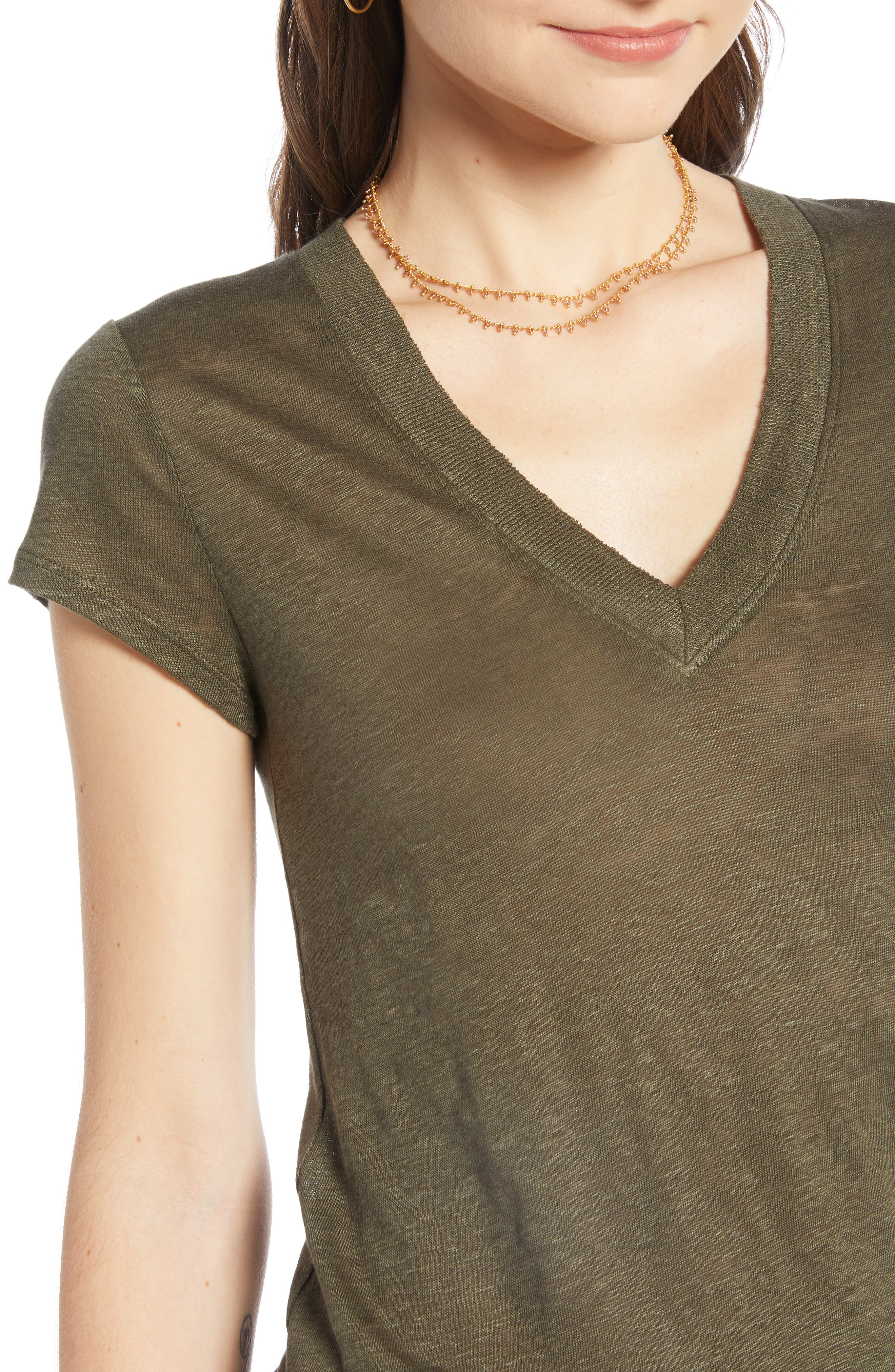 ,                             Cap Sleeve V-Neck Linen Tee,                             Alternate thumbnail 4, color,                             OLIVE SARMA
