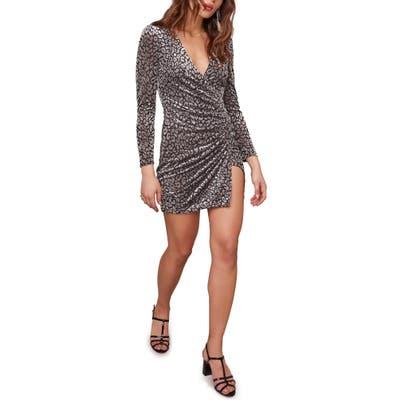 Astr The Label Yasmin Long Sleeve Faux Wrap Minidress, Grey