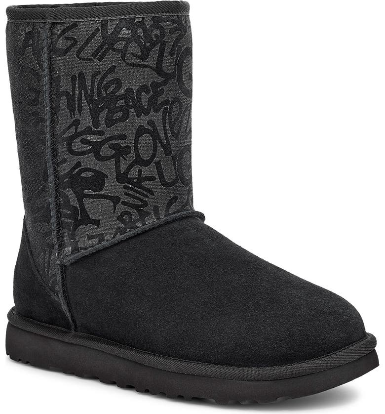 UGG<SUP>®</SUP> Classic Short Sparkle Graffiti Boot, Main, color, BLACK SUEDE