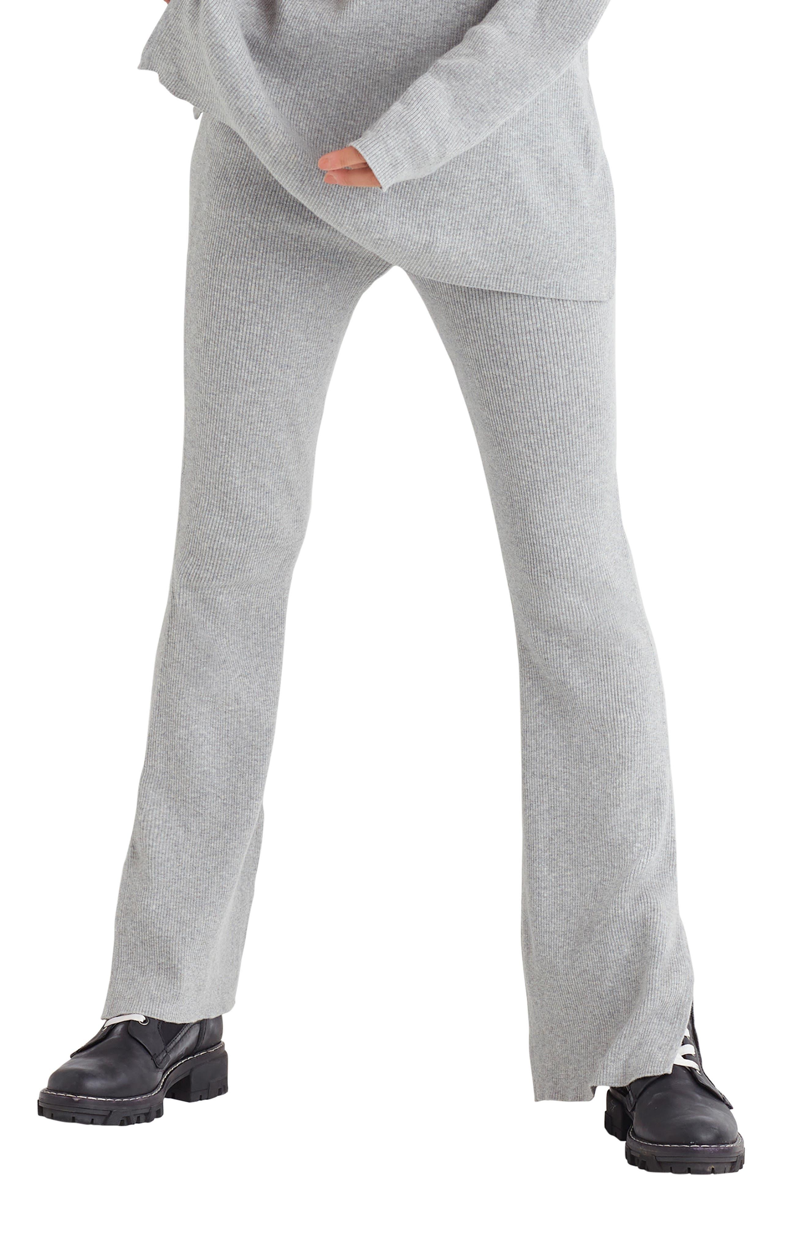 Cotton & Cashmere Rib Knit Flare Pants