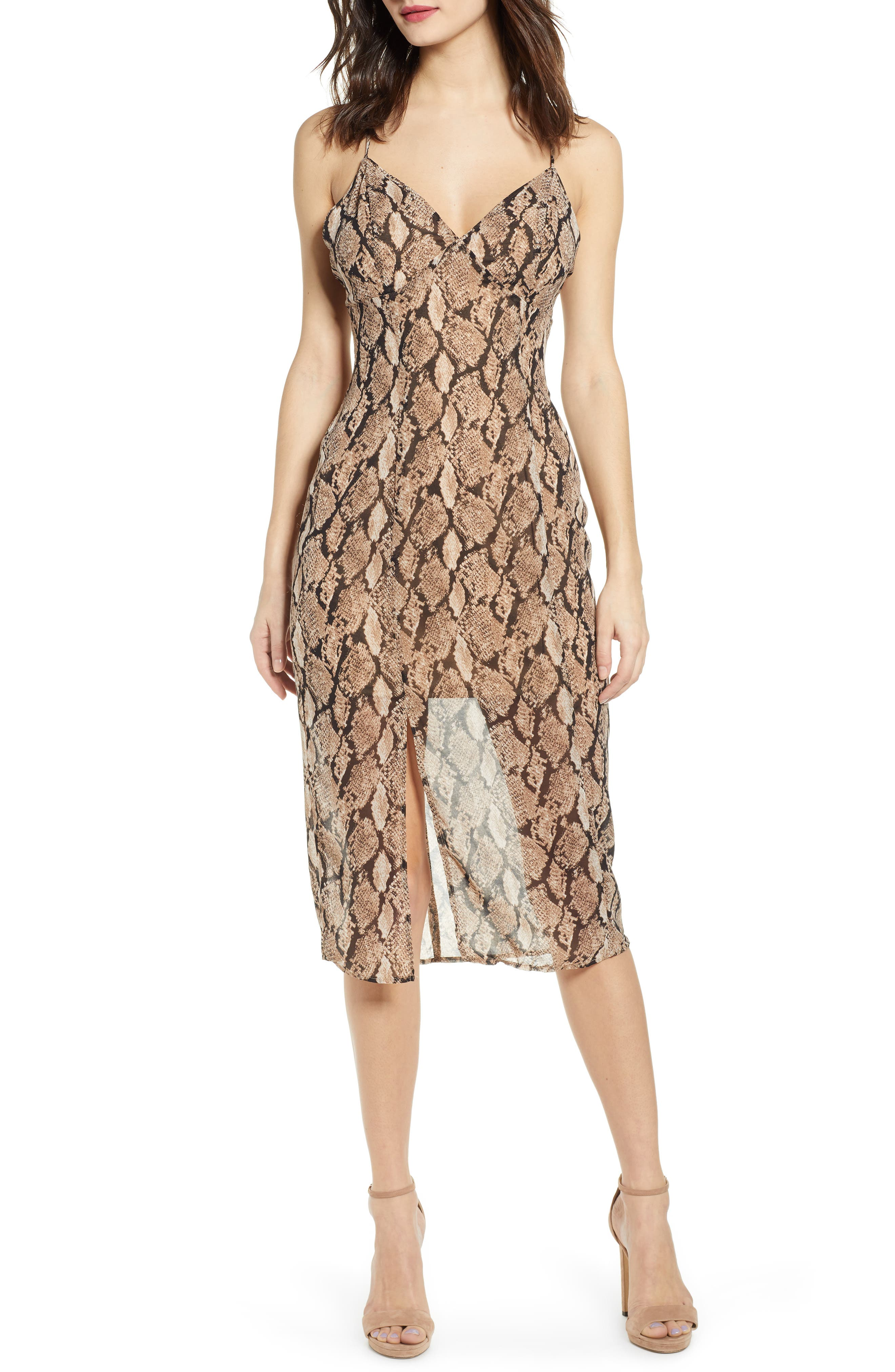 J.o.a. Python Print Crossback Strap Dress, Beige