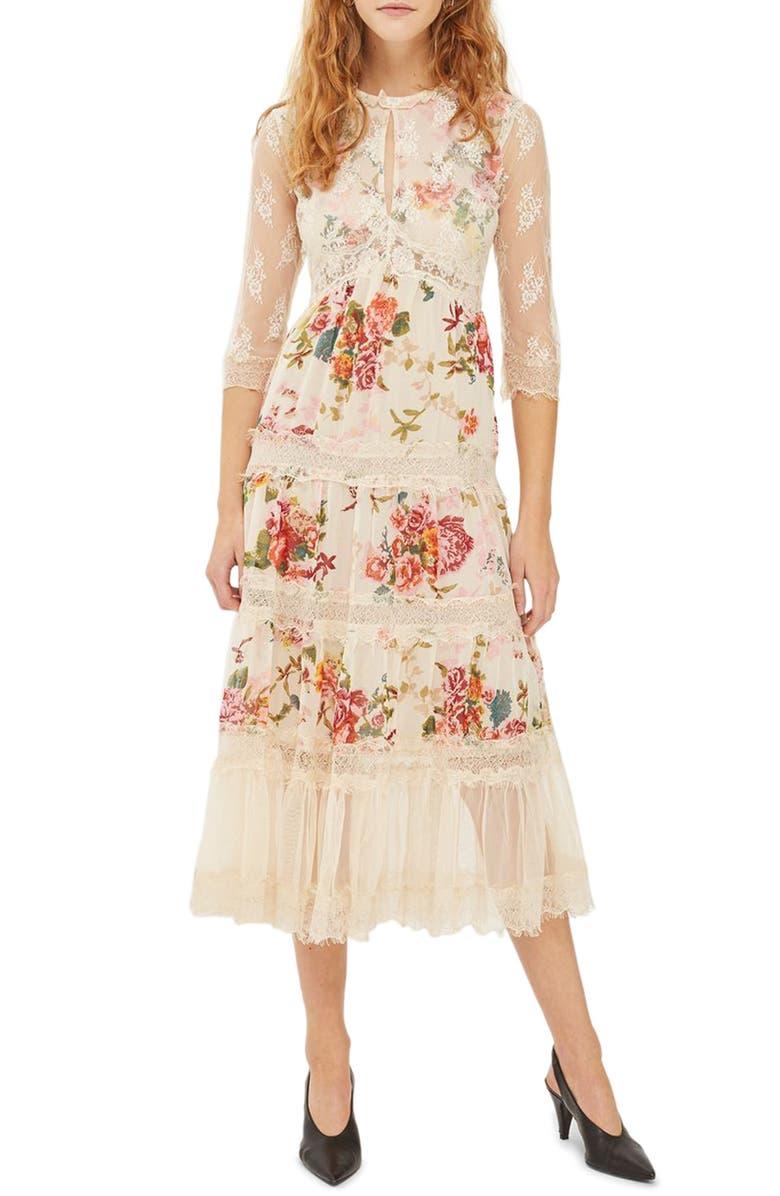 TOPSHOP Lace Tier Floral Midi Dress, Main, color, 900
