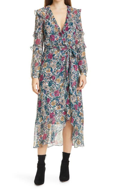 Veronica Beard ANOKI LONG SLEEVE SILK FAUX WRAP DRESS