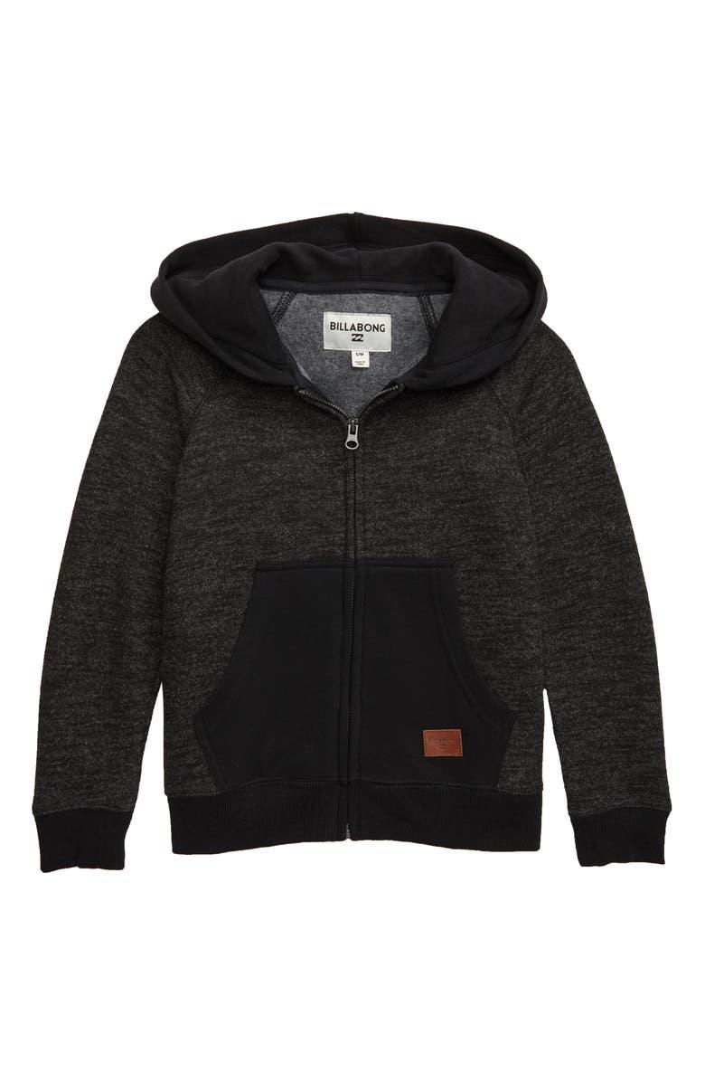 BILLABONG Balance Zip-Up Hoodie, Main, color, BLACK