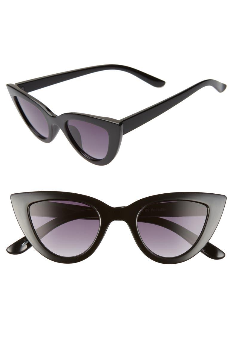 BP. 45mm Cat Eye Sunglasses, Main, color, BLACK