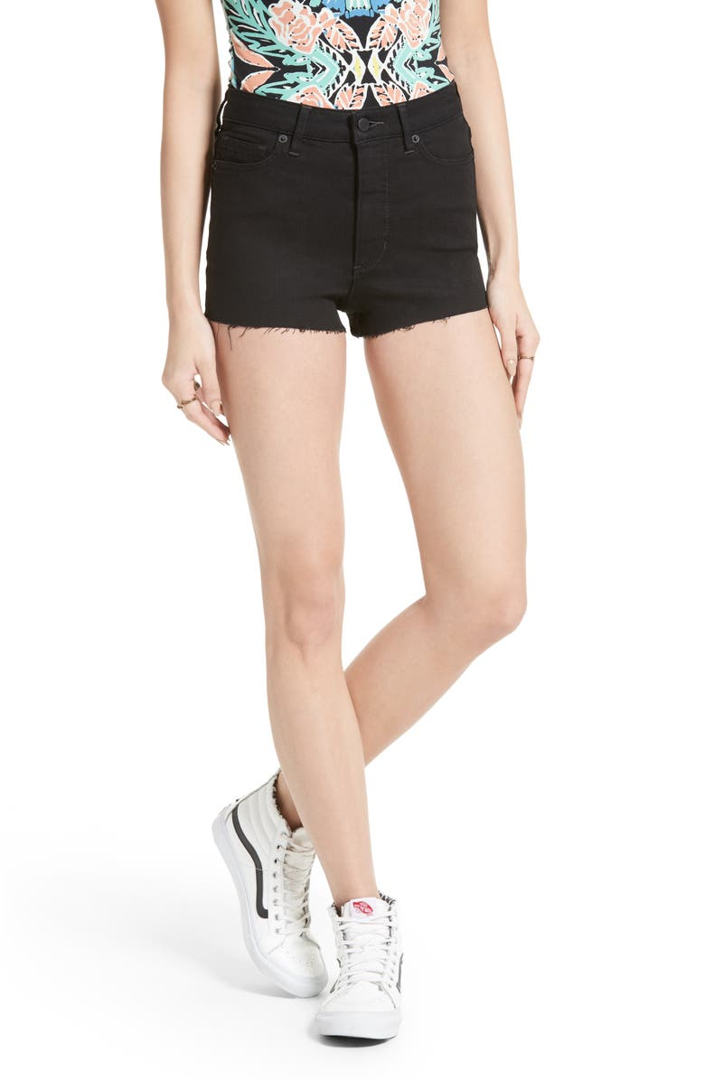 FREE PEOPLE High Rise Cutoff Shorts, Main, color, 001