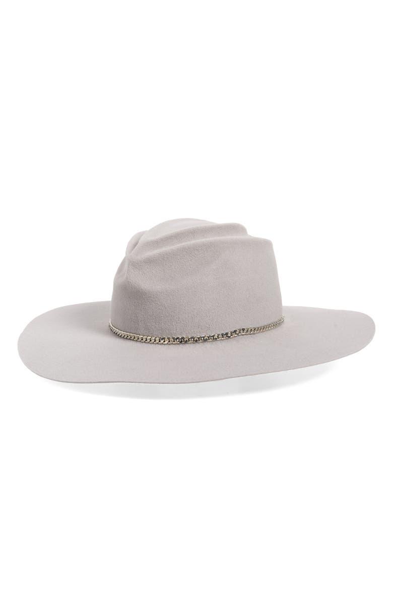 GLADYS TAMEZ Mason Fur Felt Wide Brim Hat, Main, color, LIGHT GREY