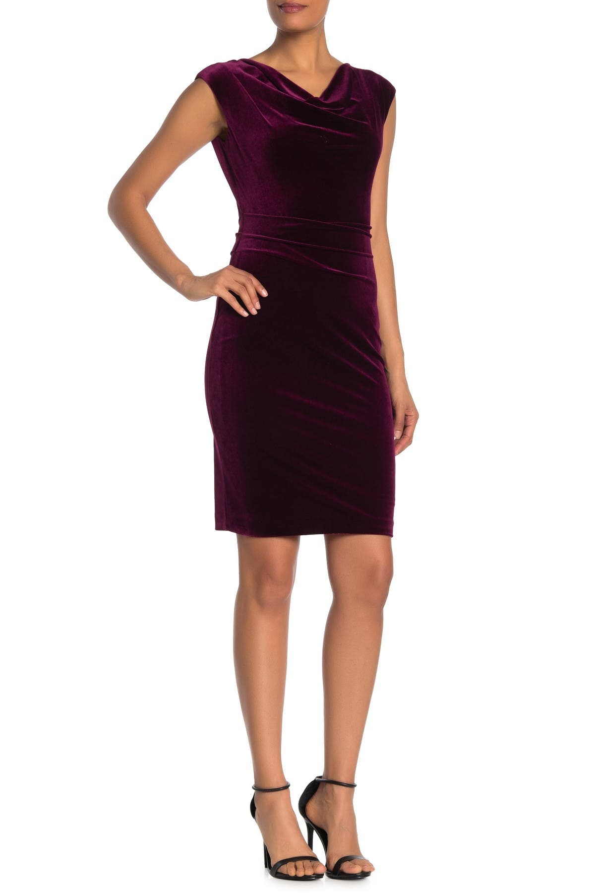 Image of Vince Camuto Drape Neck Velour Dress