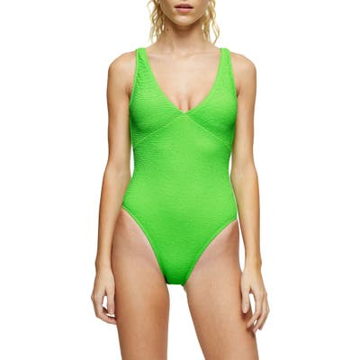 Topshop Crinkle Plunge Swimsuit, US (fits like 6-8) - Green