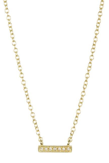 Image of Meira T 14K Yellow Gold Bar Diamond Accented Necklace - 0.02 ctw
